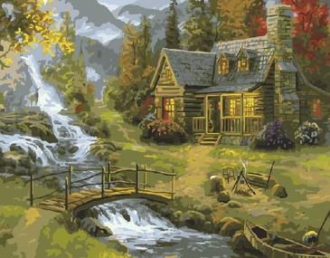 Картина по номерам на подрамнике. Домик у горной реки ВанГогВоМне