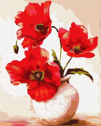 Картина по номерам на подрамнике. Три красных мака ВанГогВоМне