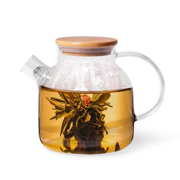 Чайник заварочный 1200мл с бамбуковой крышкой и стальным фильтром (стекло) Fissman