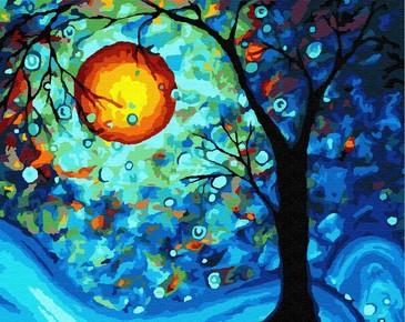 Картина по номерам на подрамнике. Ночное дерево ВанГогВоМне