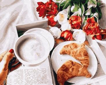 Картина по номерам на подрамнике. Завтрак с круассанами ВанГогВоМне