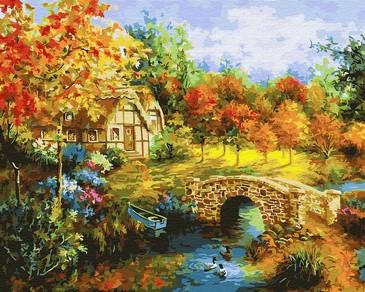 Картина по номерам на подрамнике. Мостик через пруд ВанГогВоМне