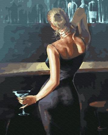 Картина по номерам на подрамнике. Девушка с бокалом мартини ВанГогВоМне